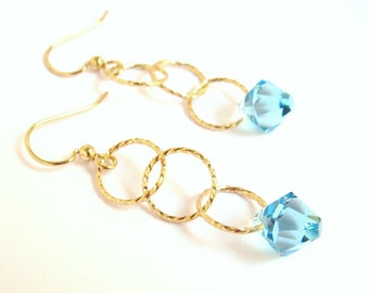 Aquamarine Crystal Linked Earrings, Swarovski Crystal Drop Link Earrings, March Birthstone Earrings