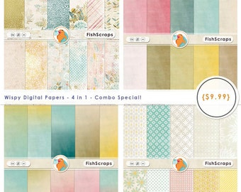 Wispy Pastel Pink Digital Paper, Sale Bundle! Coordinating Digital Background Paper, Girl Baby Shower Invite, Pretty Feminine
