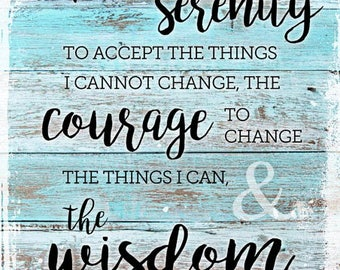 Rustic Serenity Prayer Metal Sign, Christian, Inspirational, Prayer   MEM1003
