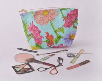 Zinnia Flower and Garden Insect Make Up Bag