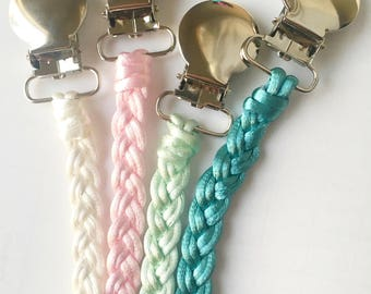 Pacifier Clip - Braided pacifier clip - Pacifier holder - Braided pacifier holder - Soft pacifier clip - binky clip - Paci clip - baby gift