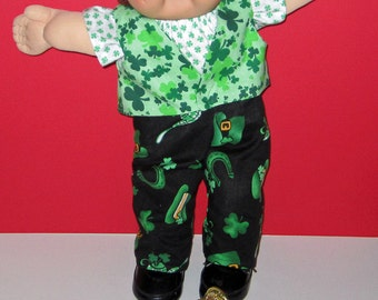 Cabbage Patch Kids, Doll Clothes, St Patrick's Day Boy Set, 16 Inch Doll Clothes,  Vintage Classic CPK Doll Clothes