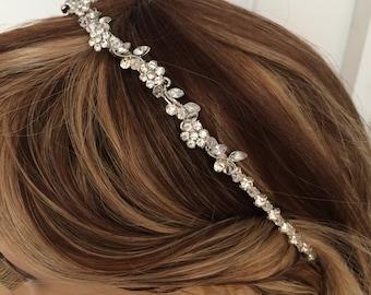 Swarovski bridal headband head band tiara Rhinestone flower wedding hair band wedding hair accessory crystal bridal tiara