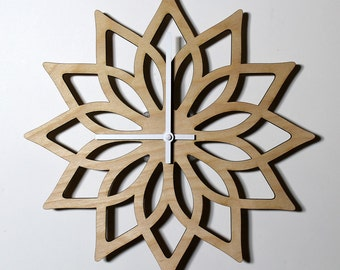 GIFT FOR WIFE laser cut wall clock gift for girlfriend housewarming gift for her wood clock wall clock laser cut clock wooden clock lotus