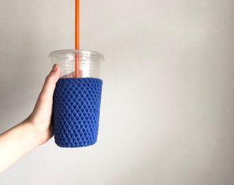 crochet coffee cozy iced cozy. Royal blue coffee cozy. crochet cup cozy. Cotton cup sleeve. gifts for teachers. coworker gift. drink cozy.