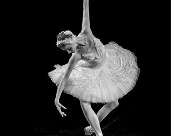 Ballerina Photo in Black & White, Russian Dancer Performing the Dying Swan in St Petersburg, Russia. Fine Art Print A4 (210mm x 297mm) #3