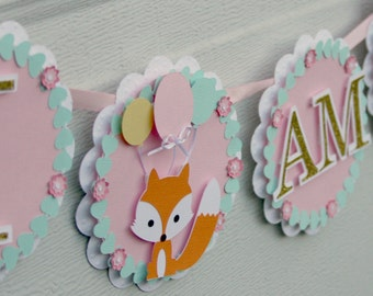 fox banner, high chair banner, 1st birthday banner,woodland banner, 1st birthday party, decorations, 1st birthday decor, girl's birthday