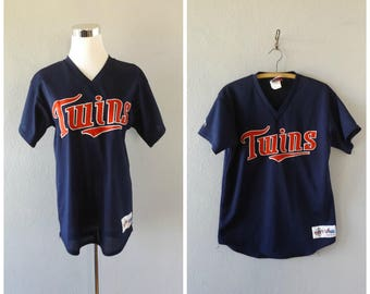 minnesota twins netted shirt - vintage 80s majestic baseball team tee - men's size xl / extra large - mlb t-shirt - hipster hip hop - 1980s