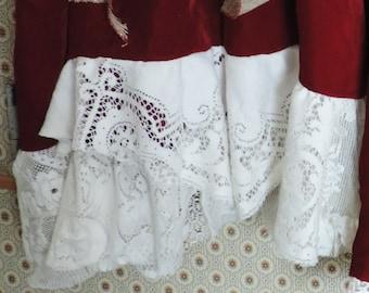 Red Shabby Velvet Gypsy Skirt Bohemian Victorian Edwardian Antique Lace