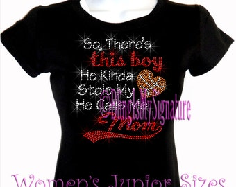 BASKETBALL - This Boy - He Kinda Stole My Heart - He Calls Me Mom - Iron on Rhinestone T-Shirt - Bling Sports Mom Transfer Top