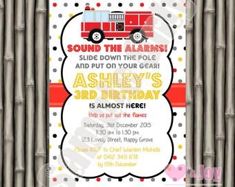 Firetruck Invitation, Firetruck Invite, Fireman Invite, Firefighter Invite, 1st Birthday Invitation, 2nd Birthday, 3rd, 4th, 5th, PRINTABLE