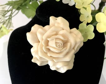 on sale white rose pendant carved bakelite pendant vintage jewelry gifts