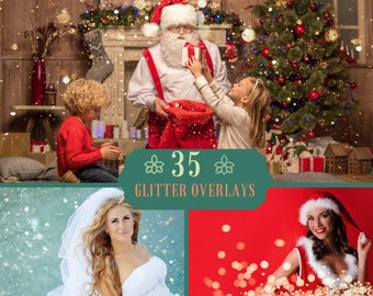 35 Glitter Overlays, Blowing Glitter, Photoshop Overlay, Bokeh Overlays, Wedding Confetti, Christmas overlay, Dust, Holiday Digital Backdrop