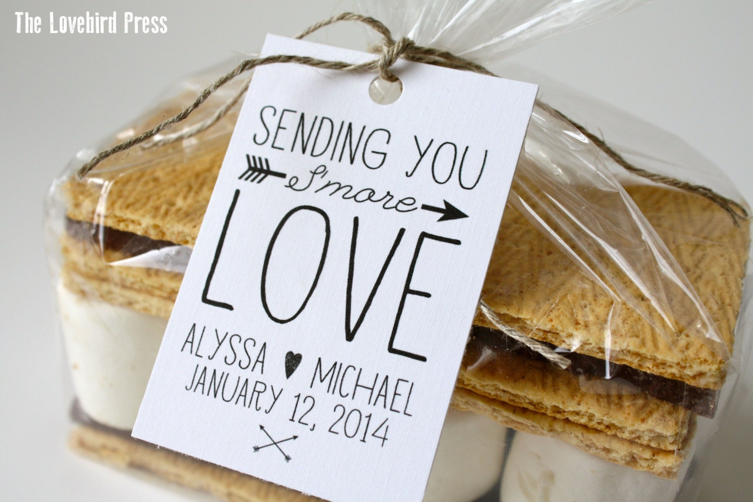 Smore Love Favor Tag Rustic Personalized Printable