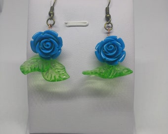 Blue rose with leaves retro earrings
