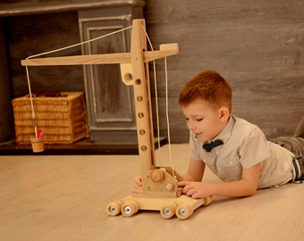 Kids toy wooden crane Montessori organic toy for boys & girls Educational toy Pretend play toy for kids imagination Trending now gift 2018