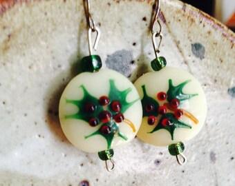 Holly lampwork beads earrings, holiday earrings, Christmas earrings,