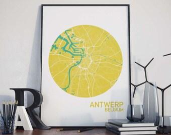 Antwerp, Belgium City Map Print