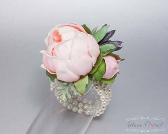 Pink Peony Wrist Corsage. Succulent. Real Touch Wedding Bridal Silk Flowers. mother, prom flower bracelet wristlet, blush, Peony Collection