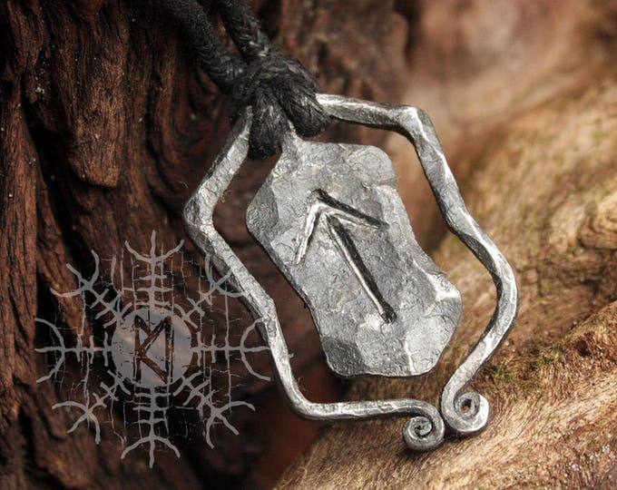 Forged Iron Tiwaz Tyr Tiw Rune Viking Amulet Runic Nordic Pendant Necklace