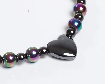 Rainbow and Hearts Anklet for Magnetic Therapy and General Spring Cuteness