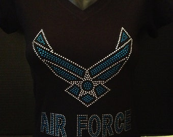 Air Force Bling Rhinestone Black T-Shirt