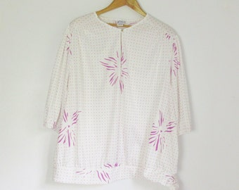 Vintage 80s Printed Quarter-Sleeve Blouse - Size 1X/2X