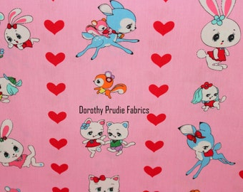 Clearance FABRIC VALENTINES DAY Honey Tune Japanese Deer and Bunnies stripe  1/2 Yard