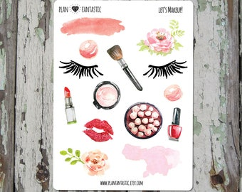 Watercolor Makeup Bullet Journal Stickers  - Fashion Glam Planner Stickers