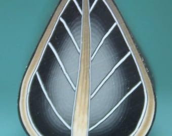 Black/Grey Polymer Clay Leaf Cane (19bb)