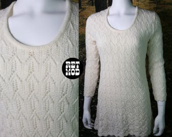 Perfect Vintage 60s 70s White Knit Sweater Hippie Mini Dress