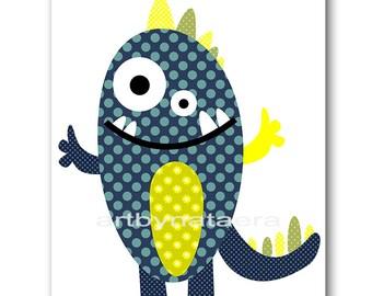 Monster Nursery Download Baby Boy Nursery Print Baby Print Download Kids Room Printable Digital Download Art 8x10 11X14 INSTANT DOWNLOAD Art