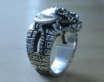 Gargoyle ring - Sterling silver