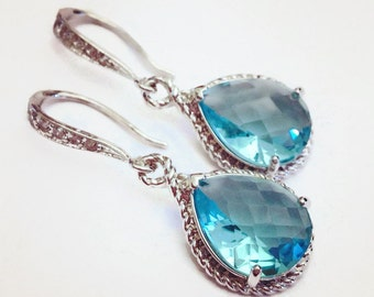 Blue Topaz Crystal and Silver Rope Earrings