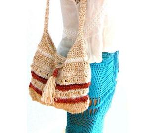 Beige red crochet tassel handbag- Boho tab crochet purse-multi crochet bag -Resort crochet women bag- Casual shoulder crochet purse-gift