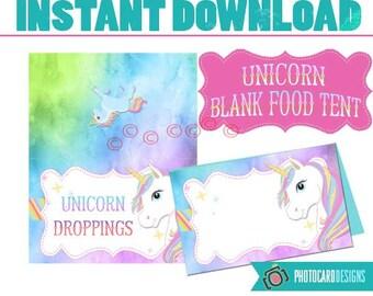 Unicorn Food Tent, Unicorn Party, Unicorn, Unicorn Food Tent, Food Tent Printable, Unicorn, Party, Digital, Printable, INsTANT DoWNLOAD