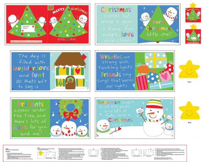 CHRISTMAS CLOTH BOOK, Merry Christmas Little One Cotton Cloth Book 35 x 44 Inches