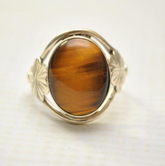 Sterling Silver Tiger Eye Ring Sz 8.5 #9259