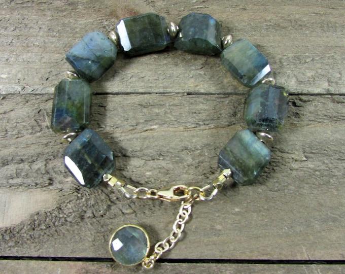 Blue Flash Labradorite Bracelet, Chunky Labradorite & Gold Bracelet