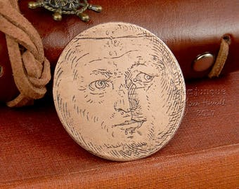 Copper moon brooch, moon face brooch, moon jewellery, moon face jewellery, copper brooch, copper jewellery, the man in the moon