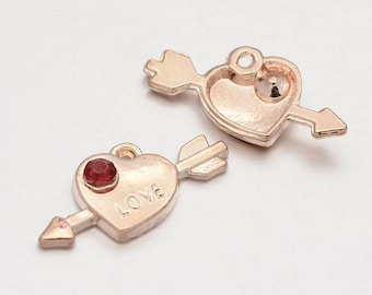 3pc, 10x21x3mm Arrow through a Heart with Word LOVE charm in Rose Gold