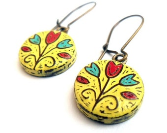 Yellow, Red and Blue Tulip Flower Dangle Earrings