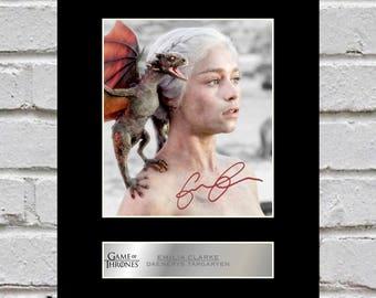 Emilia Clarke - Daenerys Targaryen 10x8 Mounted Signed Photo Print Game of Thrones