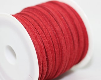 Red Faux Suede Cord, 5mt/ 10mt/ 20mt/ 50m Faux Suede Cord, Red Jewelry Cord for Jewelry Accessories