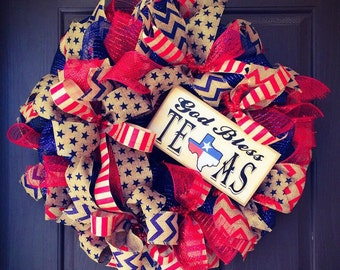 Ready to Ship Wreath, God Bless Texas wreath, Patriotic Wreath, 4th of July Wreath, Independence Day Wreath