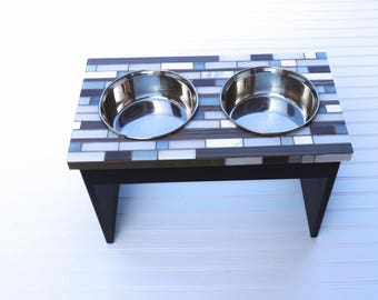 Two Bowl Dog Feeder, mosaic doggie diner, medium to large feeder, elevated multi-dog feeder, pet feeding station