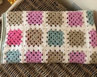 Handmade Crochet Granny Square Baby Blanket Or Lap Blanket