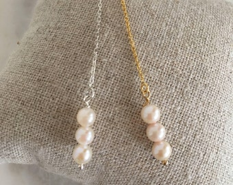Women plated chain earrings 14 k (14KGold filled) and freshwater pearls