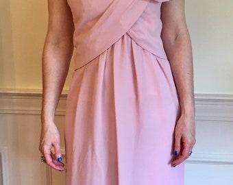 Sz 0/2 Pale Pink Vintage 1960s Evening Gown by Victoria Royal Ltd.