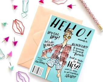 Hello card, blank card, just because card, fashion stationary, fashion office supplies, fashion print